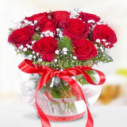 Cam Fanusta 15 Adet Kırmızı Güller