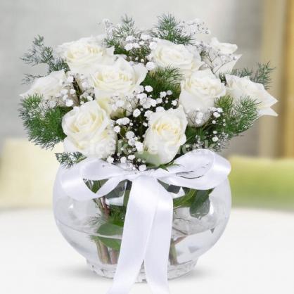 Cam Fanusta 15 Adet Beyaz Güller